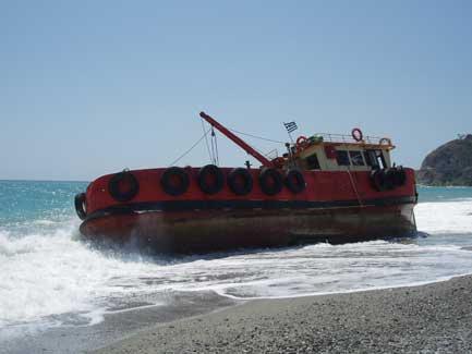 la nave arenata sulla spiaggia