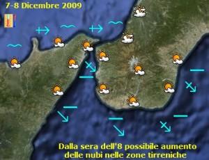 Le previsioni meteo di lunedì 7 e martedì 8 dicembre