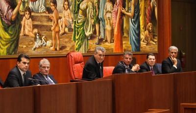 Da sinistra: Giuseppe Neri (segretario-questore), Carlo Calabrò (Segretario generale del Consiglio), Antonio Scalzo (presidente del Consiglio), Francesco D'Agostino (vicepresidente vicario), Giuseppe Gentile (vicepresidente) e Giuseppe Graziano (segretario-questore)