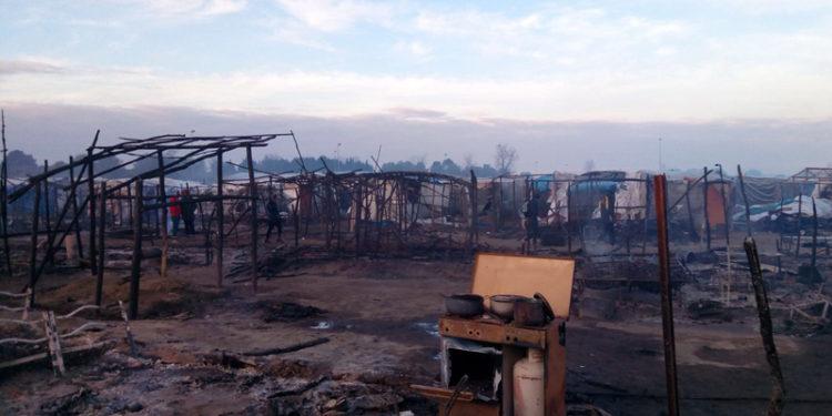 La tendopoli di San Ferdinando dopo l'incendio del 27 gennaio 2018