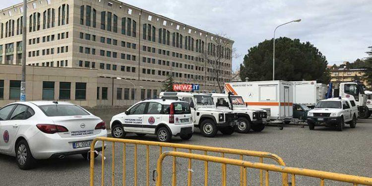 Il parcheggio dei mezzi della Protezione civile al Cedir