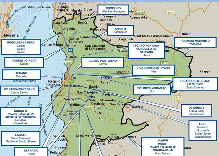 La mappa del mandamento centro della 'ndrangheta a Reggio Calabria