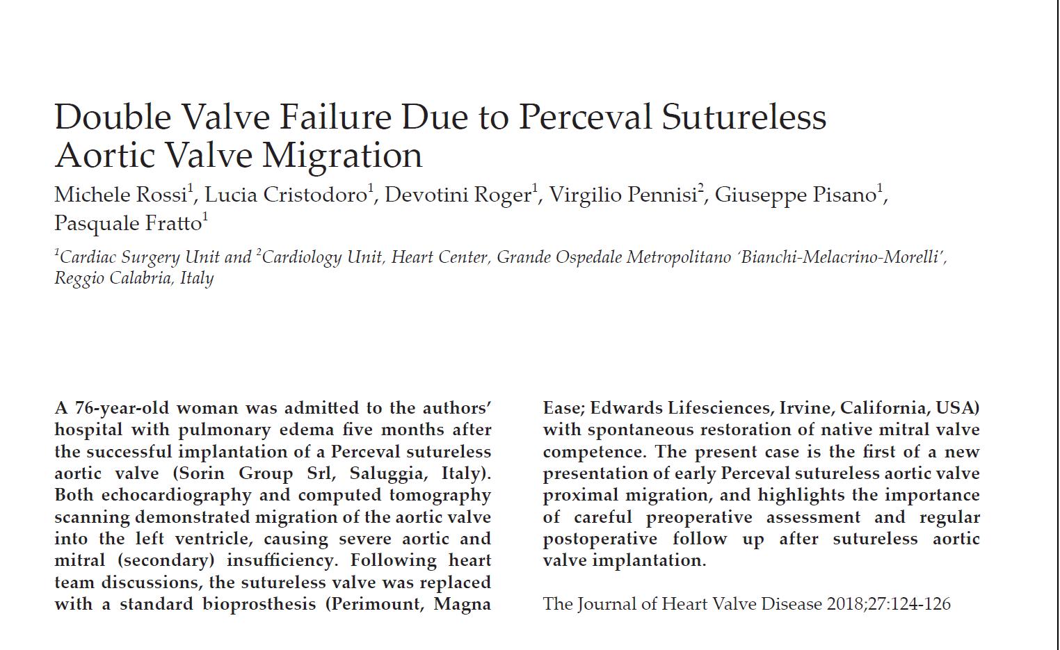 articolo pubblicato su The Journal of Heart Valve Disease,