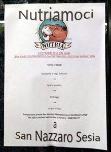 Il menu a base di nutria